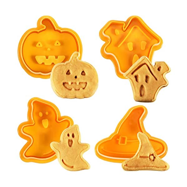 4 PIECES HALLOWEEN COOKIE CUTTERS SET – FONDANT STAMPER, PASTRY CUTTER, HAUNTED HOUSE, WITCH HAT, GHOST AND PUMPKIN STAMPER, DIRECT EMBOSSING, SPRING-LOADED HANDLE CUTTER SET