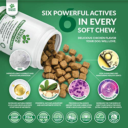 Doggie Dailies Glucosamine for Dogs: 225 Soft Chews, Advanced Hip & Joint Supplement for Dogs with Glucosamine, Chondroitin, MSM, Hyaluronic Acid & CoQ10, Premium Joint Relief for Dogs Made in the USA 8