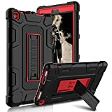 Kindle Fire 8 2018 Case, Kindle Fire 8 2017 Case, Zenic Three Layer Heavy Duty Shockproof Full-body Protective Hybrid Case With Kickstand for Kindle Fire 8 2018 Release/All-New Fire HD 8 (Red/Black)