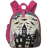 Toddler Pre School Backpack Boy&girl's Halloween Bats Castles Moons Book Bag