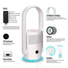 ULTTY-Bladeless-Fan-9-Speeds-Tower-Fan-with-Remote-Control-Quiet-Space-Cooler-Air-Circulator-Fan-8h-Timer-LED-Display-and-Oscillating-for-Bedroom-Home