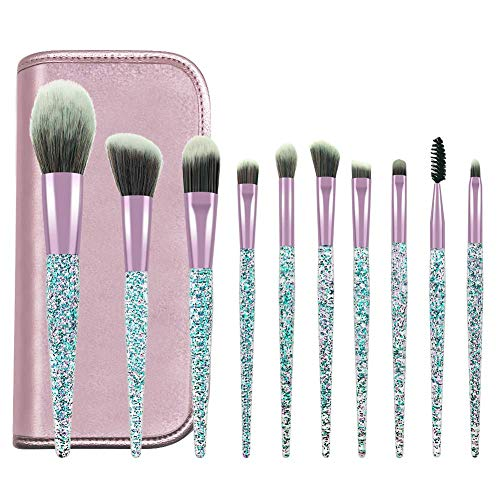 POYINRO Makeup Brushes, Makeup Brush Set, 10 PCS Premium Crystal Handle Synthetic Essential Cosmetics Brush Kit with Leather Bag for Face Powder Foundation Blending Blush Concealer Eye Shadow Brush