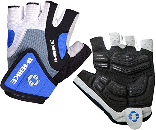Inbike 5mm Gel Pad Half Finger Bike Bicycle Cycling Gloves Blue Large
