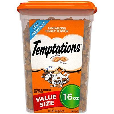 TEMPTATIONS Classic Crunchy and Soft Cat Treats Tantalizing Turkey Flavor, 16 oz. Tub