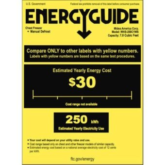 arctic king 7 cu ft chest freezer energy guide