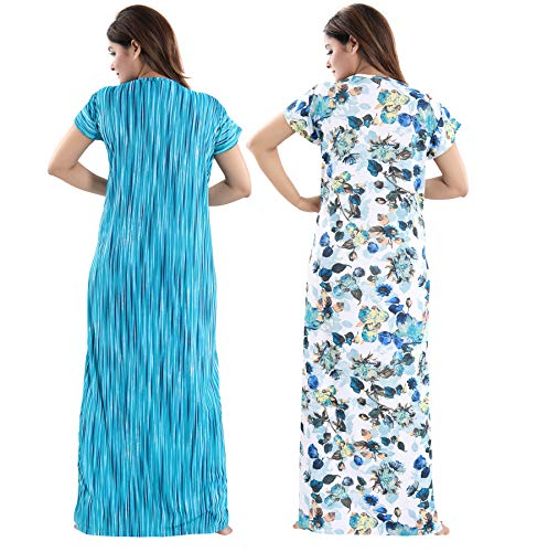 TUCUTE Women Beautiful Print with Invisible Zip + Floral Print Feeding/Maternity/Nursing Nighty/Night Gown/Night Dress/Nightwear (Free Size) (Pack of 2 Pcs) 6