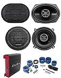 (2) Hifonics ZS693 6x9 800W Speakers+(2) 5.25' Speakers+4-Ch Amplifier+Amp Kit