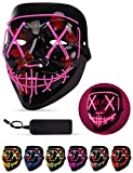 Sago Brothers Scary Halloween Mask, LED Light up Mask Cosplay, Glowing in The Dark Mask Costume 3 Lighting Modes, Halloween Face Masks for Men Women Kids - Pink