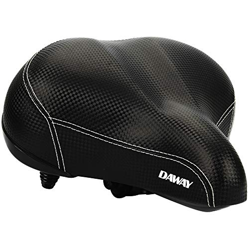 DAWAY Oversized Comfortable Bike Seat - C20 Soft Foam Padded Wide Leather Bicycle Saddle Cushion Men Women Seniors, Fit Cruiser, Spin, Exercise Bikes & Outdoor Cycling, 1 Year Warranty, Black