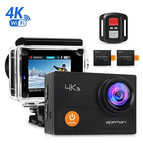 APEMAN Action Camera 4K Wi-Fi waterproof Underwater Camera Ultra Full HD Sport Cam 30M Diving with 2″ LCD 170°Wide-angle/2.4G Remote Control/2 Rechargeable Batteries/20 Accessories Kits