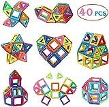 Manve Magnetic Tiles Building Blocks Toys, 40 Pcs Preschool Kids Educational Construction Toys Sets