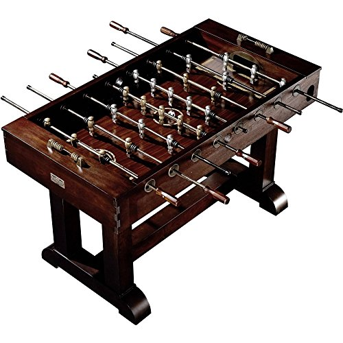 56' Premium Solid Wood Veneer Foosball Soccer Table With Antique Bronze Finish and Steel Rods by...