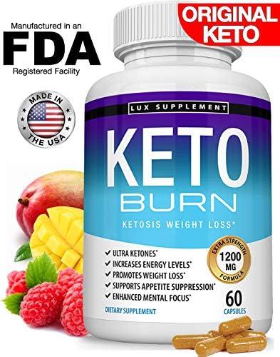 Keto Burn Pills Ketosis Weight Loss - 1200 Mg Ultra Advanced Natural Ketogenic Fat Burner Using Ketone Diet, Boost Energy Focus & Metabolism Appetite Suppressant, Men Women 60 Capsules, Lux Supplement 3