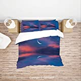FashSam Duvet Cover 4 Pcs Comforter Cover Set Surreal Sky with Water Surface Crescent Moon Fantasy Colors Scenery Image for Boys Grils Kids(Queen)