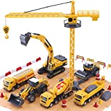 iPlay, iLearn Construction Site Vehicles Toy Set, Kids Engineering Playset, Tractor, Digger, Crane, Dump Trucks, Excavator, Cement, Steamroller for 3, 4, 5 Year Old Toddlers, Boys, Children (Yellow)