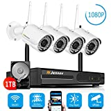 【Newest Strong WiFi Arrival】Jennov Security Camera System Outdoor Wireless 4 Channel HD 1080P WiFi Home IP Video Surveillance Night Vision NVR Kit With Pre-installed 1TB Hard Drive Free Remote Access