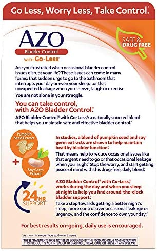 AZO Bladder Control with Go-Less Daily Supplement | Helps Reduce Occasional Urgency* | Helps reduce occasional leakage due to laughing, sneezing and exercise | 54 Count Capsules 5