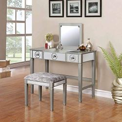 Linon Home Décor Vanity Set Silver