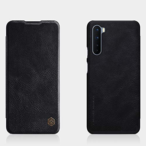 """51tsDlv++cL - Nillkin Case for OnePlus Nord One Plus Nord (1+) Nord (6.44"""" Inch) Qin Genuine Classic Leather Flip Folio + Card Slot Black Color"""