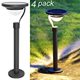 Twinkle Star 50 Lumens 42X Brighter Solar Path Lights Solar Garden Lights Solar Landscape Lights Outdoor for Lawn Patio Yard Driveway, Matte Black, 4 Pack