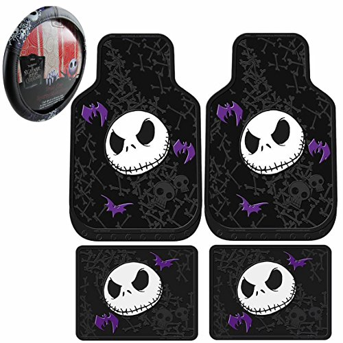 5pc Nightmare Before Christmas Rubber Floor Mats & Steering Wheel Cover Set New