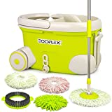 EGOFLEX Spin Mop Bucket System - Premium Microfiber Floor Mop with Stainless Steel Easy Wringer Rolling Bucket [3X Microfiber Mop Heads, 1x Chenille Mop Pad, 1x Scrub Brush, Extra Length Handle]