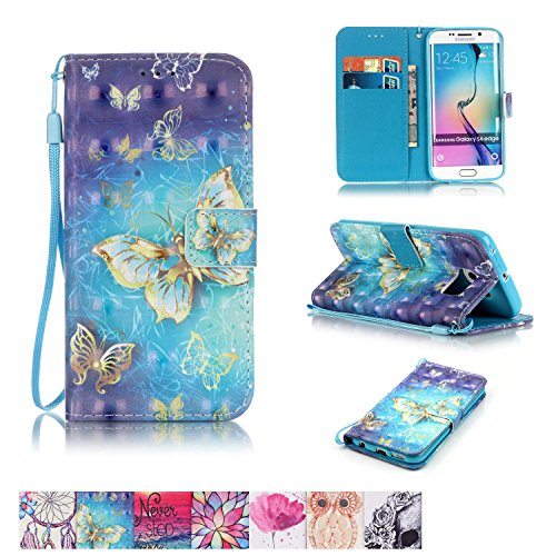 Galaxy S6 Edge Case, Firefish Kickstand Flip [Card Slots] Wallet Cover Double Layer Bumper Shell with Magnetic Closure Strap Protective Case for Samsung Galaxy S6 Edge