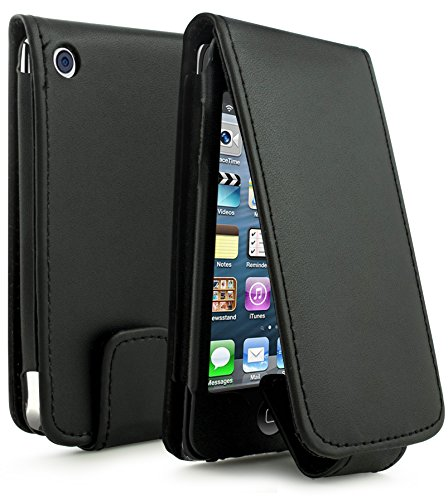 Bastex Leather Wallet for Touch 4, 4th Generation iPod - Black Flip Case
