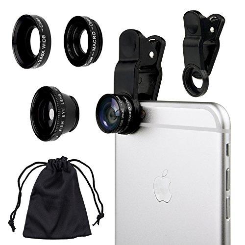 Camkix Universal 3 in 1 Cell Phone Camera Lens Kit - Fish Eye Lens / 2 in 1 Macro Lens & Wide Angle Lens / Universal Clip (Black)