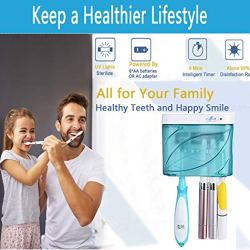 AicLuze Bathroom Set Toothbrush Holders Accessories, Mounted Wall Toothbrush Storage Organizer, Electric UV Toothbrush Hanging Holder with Sterilization Function for Ladies Men Baby Kids Family