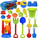 19 PCs Kids Beach Sand Toys Set Sand Water Wheel, Beach Molds, Beach Bucket Beach Shovel Tool Kit, Sandbox Toys for Toddlers, Kids Outdoor Toys