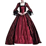 Aniywn Retro Medieval Party Princess Dress Ball Gown Gothic Costume Renaissance Cosplay Floor Length Dress Wine