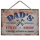 Dad's Fix-It Shop Sign, 10'X7' - 'IF PAPA Can't FIX IT WE are All Screwed' for Universal Household Signs, Birthday Thanksgiving Gifts for Dad