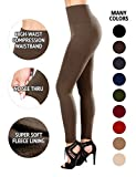 SEJORA Fleece Lined Leggings High Waist Compression Slimming Warm Opaque Tights (One Size, Mocha)