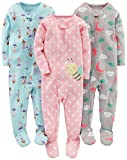 Simple Joys by Carter\s Baby Girls\ 3-Pack Snug-Fit Footed Cotton Pajamas, Ballerina/Moon/Bee, 18 Months