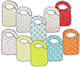 Baby Lounge Big Large Baby Bib Soft Drool Absorbing Easy to Clean Fits 6 Months to Toddler (Value 10-Pack)