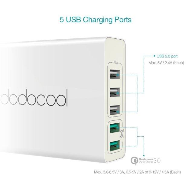dodocool USB充電器 AC式充電 60W 5ポート 急速充電可能2ポートに付き iPhone / iPad / Androidスマホ/タブレットに対応(ホワイト)