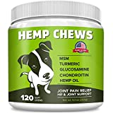 Pawfectchow Hemp + Glucosamine Treats for Dogs - Made in USA Hip & Joint Supplement w/Organic Hemp Oil Chondroitin MSM Turmeric - Natural Pain Relief - All Breeds Sizes-120 Chews