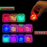 Lit Cubes (12 Pack) Premium LED Light Ice Cubes for Drinks - Replaceable Batteries - Reusable, 8 Color Changing Lights With On/Off Switch - Light Up Glow in the Dark Party Supplies for Halloween, Etc.