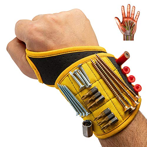 Magnetic Wristband Unique Design Wrist Support with Thumb Loop by BinyaTools. 9 Strong Magnets Holding Screws, Nails, Drill Bits. Gift for Men, DIY Handyman, Father/Dad, Husband, Electrician Carpenter