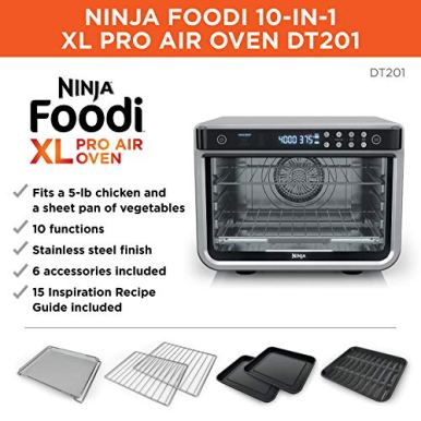 Ninja-DT201-Foodi-10-in-1-XL-Pro-Air-Fry-Digital-Countertop-Convection-Toaster-Oven-with-Dehydrate-and-Reheat-1800-Watts-Stainless-Steel-Finish