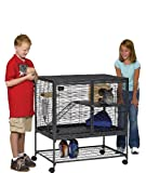 MidWest Deluxe Critter Nation Single Unit Small Animal Cage (Model 161) Includes 1 Leak-Proof Pans, 1 Shelf, 1 Ramps w/ Ramp Cover & 4 locking Wheel Casters, Measures 36'L x 25'W x 38.5'H Inches, Ideal for Dagus, Rats, Ferrets, Sugar Gliders
