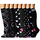 QUXIANG Copper Compression Socks for Women and Men - Best Medical Sports, Nursing, Running, Cycling, Athletic, Edema, Diabetic, Varicose Veins, Travel, Pregnancy & Maternity 15-20 mmHg (S/M, Multi 20)