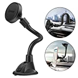 IPOW Long Arm Universal Magnetic Cradle Windshield Dashboard Cell Phone Mount Holder with 4 Metal Plates, Soft Firm Goose Arm and Enhanced Suction Cup