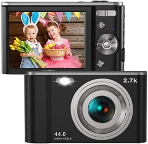 Digital Camera HD 2.7K 44 MP Vlogging Camera with Webcam, Point & Shoot Digital Camera with 2.88″ IPS Screen, 16X Digital Zoom, 2 Batteries, Gift for Birthdays,Christmas,Thanksgiving Days -Black