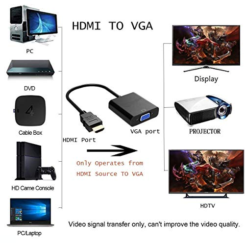 Terabyte HDMI Male to VGA Female Video Converter Adapter Cable (Black) 4