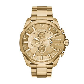 Diesel Men's Mega Chief Quartz Stainless Steel Chronograph Watch, Color: Gold-Tone (Model: DZ4360)