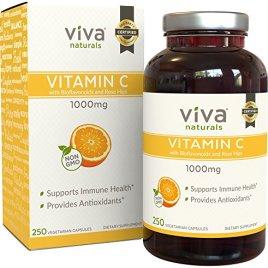 Viva Naturals Premium Non-GMO Vitamin C, 1000mg, 250 Veg Caps with Bioflavonoids and Rose Hips, Quali®-C from Scotland