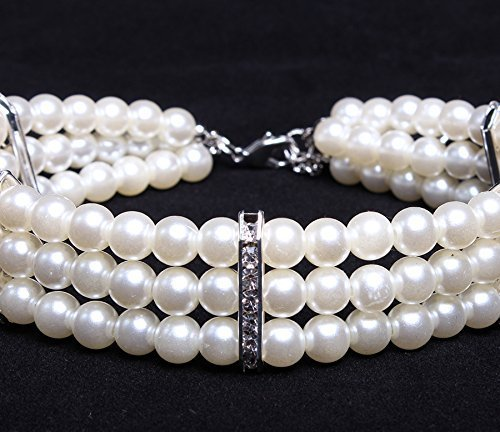 PetFavorites 3 Row White Pearls Diamond Dog Necklace Collar Jewelry with Bling Rhinestones for Pets Cats Small Dogs Girl Teacup Chihuahua Yorkie Clothes Costume Outfits 3