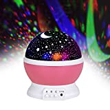 Jayden78 Toys for 2 Year Old Girls, Night Light Rotating Moon Stars Projector for Kids Bedroom Birthday Christmas Baby Gifts Toys for 2-10 Year Old Girls 2-10 Year Old Girl Gifts (Pink)